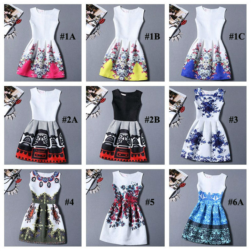 Vestido de festa 2016 Summer Dress Women Brand Sleeveless Casual Dresses Ladies vintage print plus size women jacquard clothing