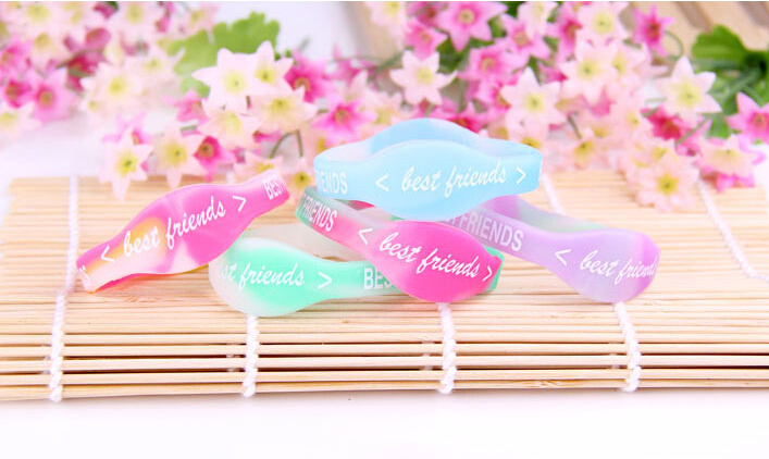 Pulsera Oso From India Pulseiras Fashion Best Letter Friends Shape Fluorescent Bangle Bracelet Rubber Casual/sporty Silicone(China (Mainland))