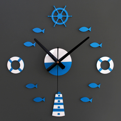 3D wall clock, Mediterranean feeling, DIY home decoration, blue & red - Super Home Market store