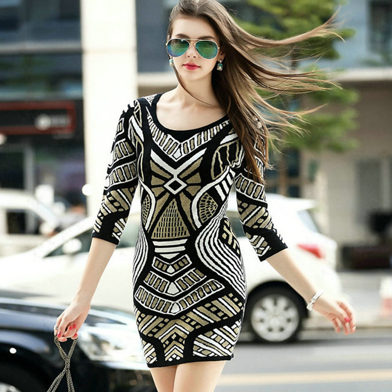 Women Knitted Dress Casual Geometry Sweater Three Quarter Sleeve Short Bodycon 2015 Autumn Winter Style