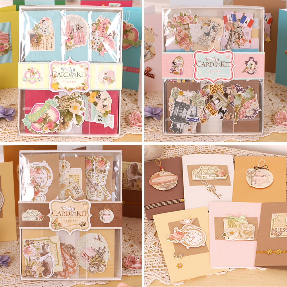high quality universal gift cards promotion shop for high quality diy vintage cards kit set creative gift card making kit for kids friends 3 styles