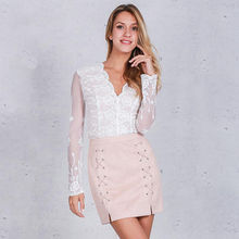 Buy Sexy Fashion Vogue Women Ladies High Waisted Empire Lace Pencil Skirt Bodycon Leather Mini Skirt Black Sexy for $7.73 in AliExpress store