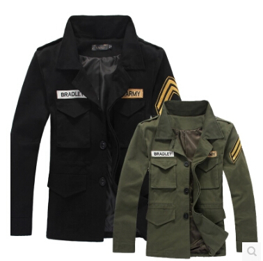 Han edition men in the autumn 2015 spring clothing men's black tooling I epaulettes jacket is the special military uniform coat(China (Mainland))