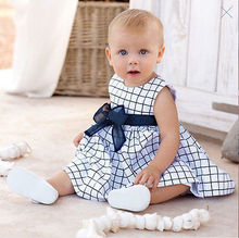 2015 Baby 0-3Y Toddler Girl Kids dress Cotton Top Bow-knot Plaids Dresses Outfit Clothes(China (Mainland))