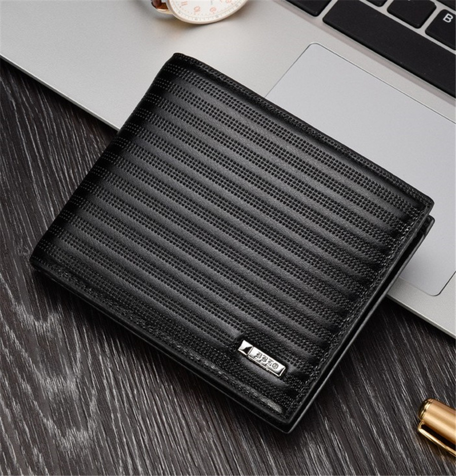 Striped men's short paragraph wallet embossed cross section SUB1008(China (Mainland))