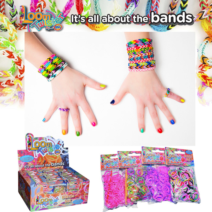 gum plaiting 400pcs/lot Colorful Rubber Bands Refill Weaving Bracelets Loom Bands Set Gum For Bracelets 19 Color(China (Mainland))