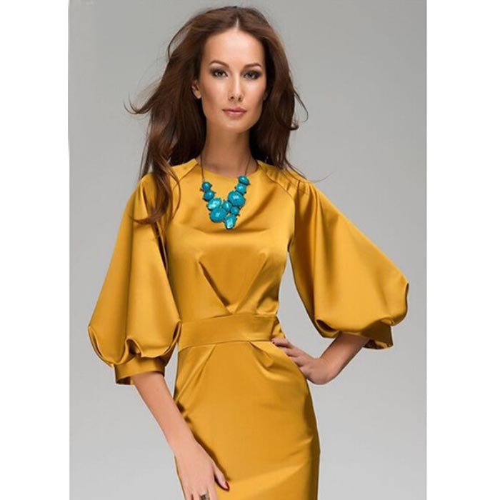 Summer Maxi Dress 2015 Women Gold Color S~XL O-Neck Lantern Sleeve Collect Waist Slim Work Wear Dress OL (China (Mainland))