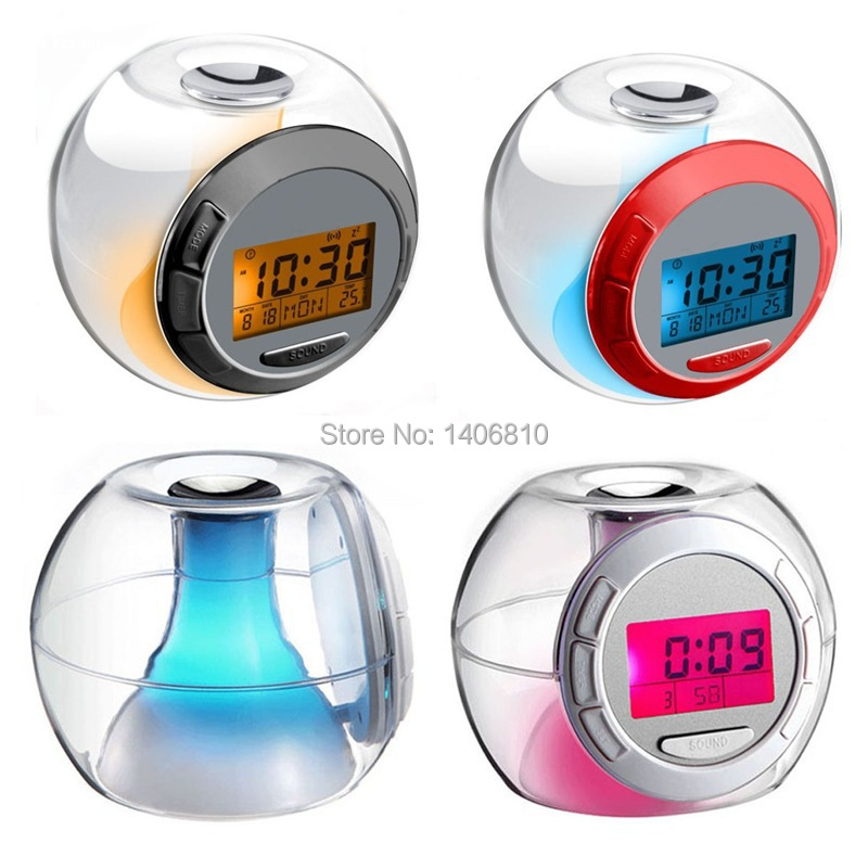 Revitalizing music round the clock colorful color natural sound alarm clock wholesale fashion electronic shelf(China (Mainland))