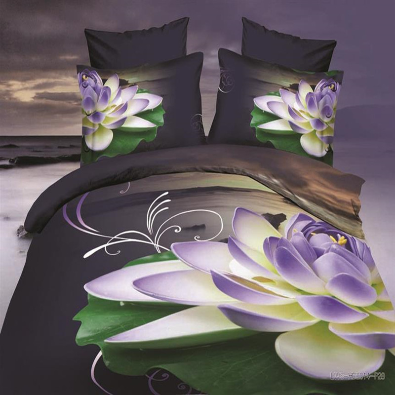 Home Textile Fast Shipping Christmas Gift 3d flower purple bedding Set duvet cover brand bed set 3d comforter sets queen size(China (Mainland))