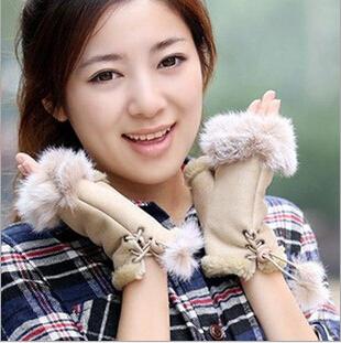 Lowest Price High Quality 2015 Winter Gloves Fashion Fitness Women luvas Winter Fingerless Gloves for Women Rabbit Fur Gloves(China (Mainland))