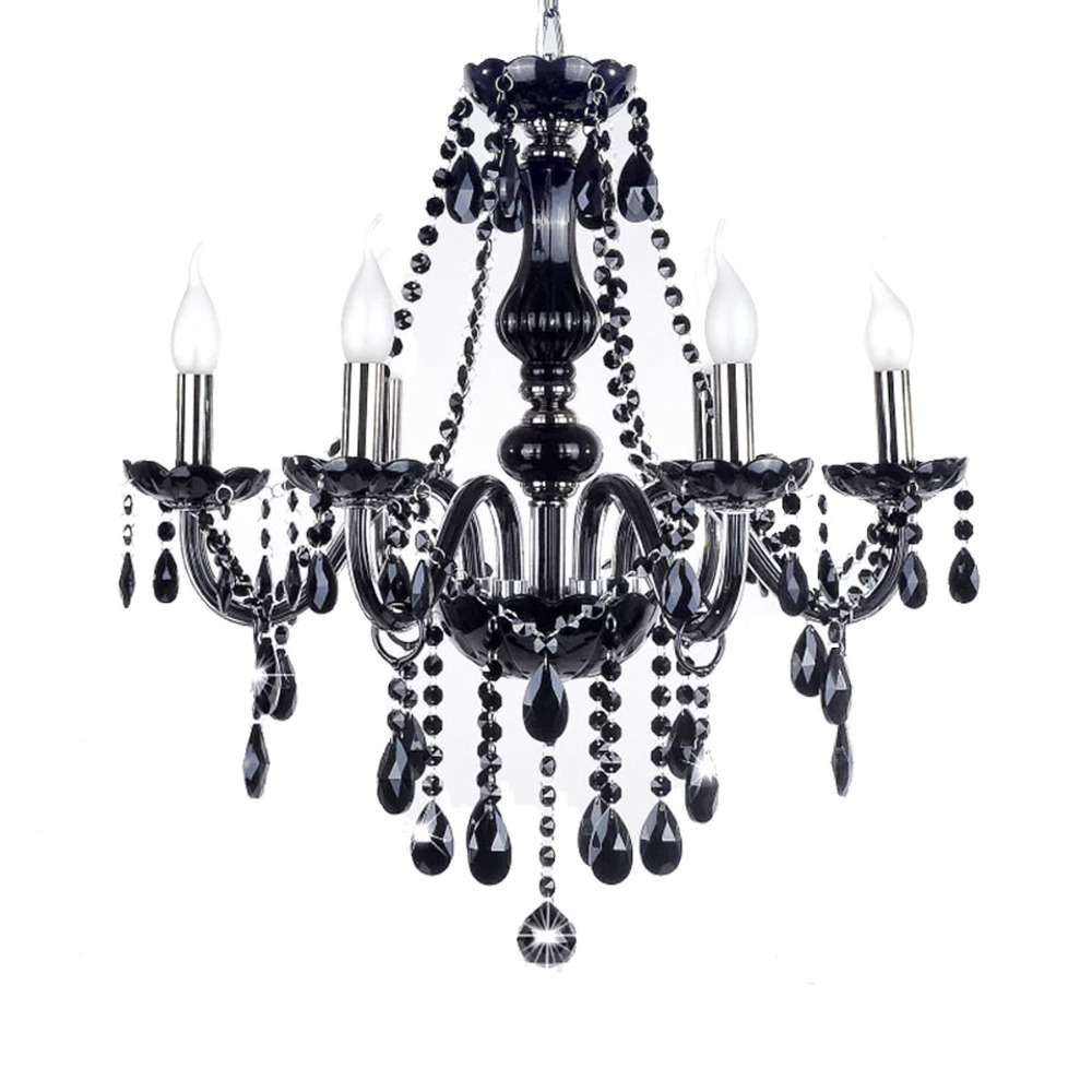 Black Crystal Chandelier France Design K9 Lustre Fixture 6