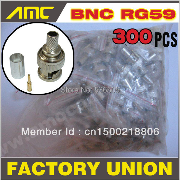 300PCS High Quality BNC male crimp plug for RG59 coaxial cable BNC Connector BNC male 3-piece crimp connector plugs cctv cable(China (Mainland))