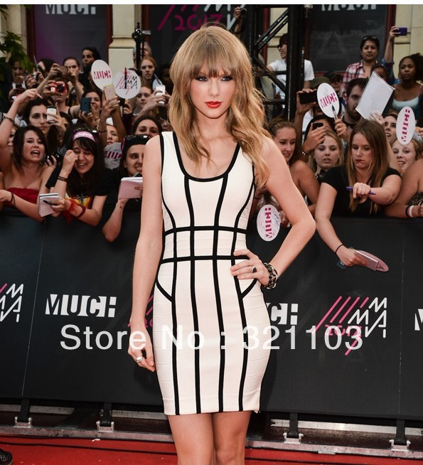 bandage stripe dresses o neck dress white black DM242