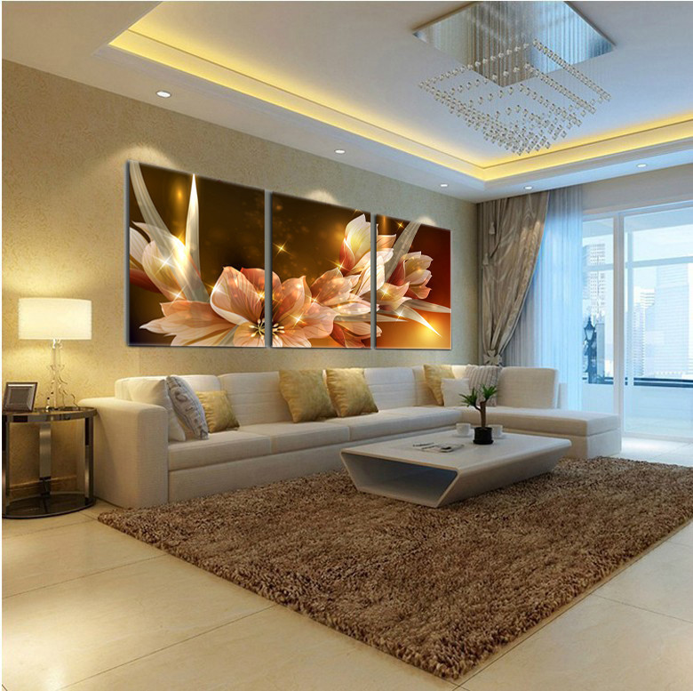 2015 Limited Cuadros Quadros Oil Painting Gold Transparent Flower 3 Piece Wall Art Painting Pictures Print On Canvas (no Frame)(China (Mainland))