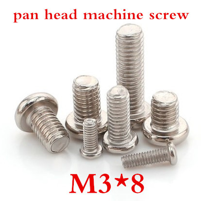 100pcs/lot DIN7985 M3*8 Phillips Pan Head SCREW Cross recessed pan head Screw Stainless Steel 304<br><br>Aliexpress