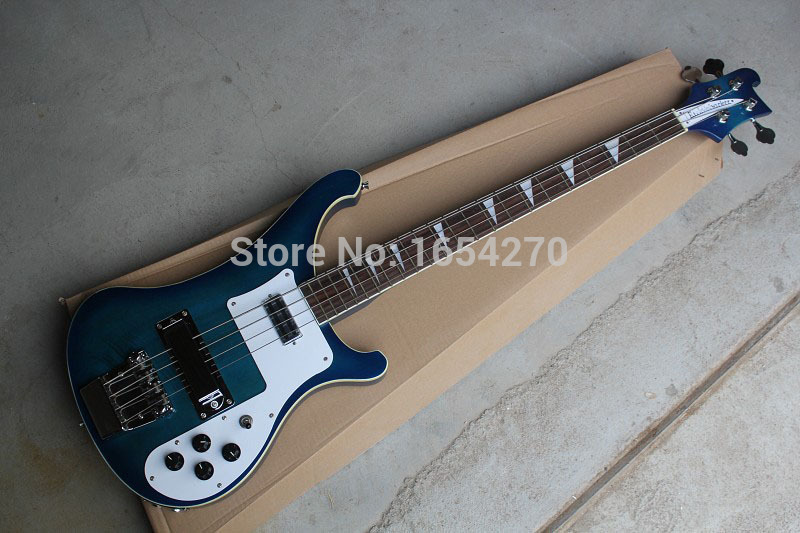 Free shipping 2016 New arrival electric bass rickedbacker Blue dual jack of log guitar 151022(China (Mainland))