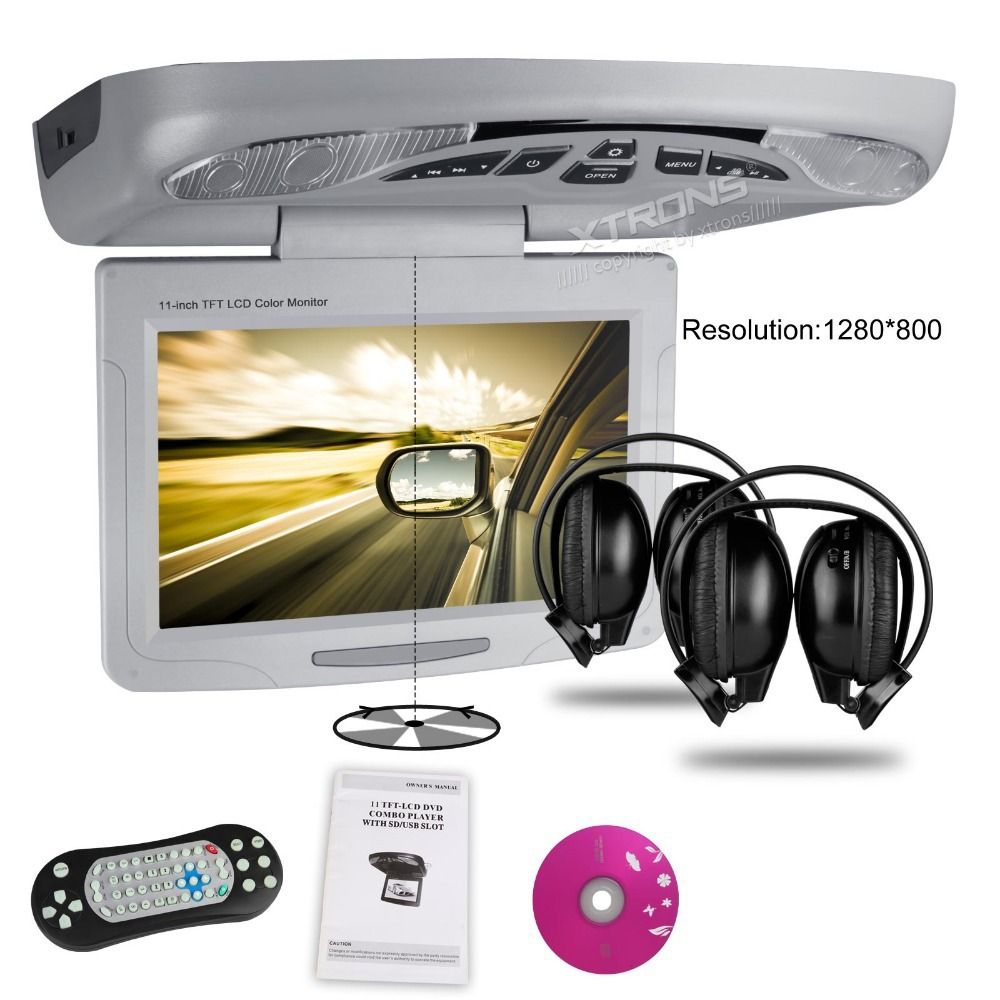"""11.3"""" Car Roof Mounted DVD Player, Digital TFT LCD Screen1280*800 Rotating Screen 270 Flip down Overhead Ceiling Monitor DVD(China (Mainland))"""