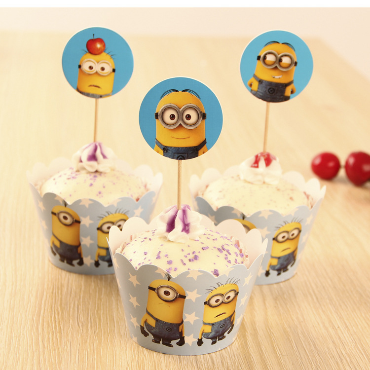 24pc/set Despicable Me Winne Minions Party Supplies Paper Cupcake wrappers toppers for kids birthday party decoration cake cups(China (Mainland))