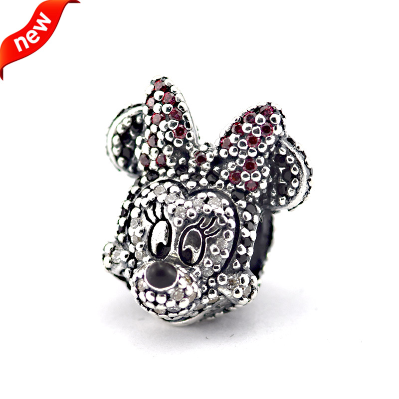 Fits Pandora Bracelets Sparkling Minni Portriat Silver Beads With CZ 100% 925 Sterling Silver Charms DIY Wholesale 11288<br><br>Aliexpress