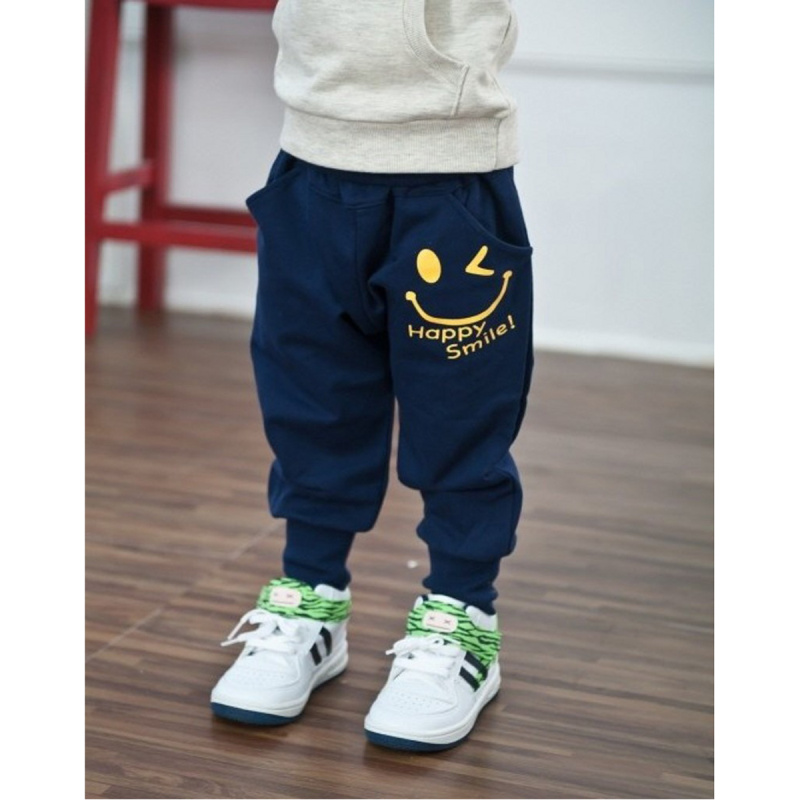 Children Kids Boys Girls Cotton Casual Loose Elastic Waist Letter Smile Print Sportwear Hip Hop Bottom Long Pants Trousers(China (Mainland))