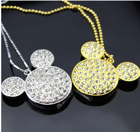 NEW Mickey Necklace Jewelry USB 128GB Pendriev 64GB Flash Drive Memory Stick 16GB 32GB 64GB Pendrive 1TB Pen Drive 2TB Gift 2.0(China (Mainland))
