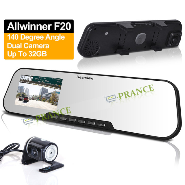 DV300L Allwinner F20 Dual Camera Lens RearView Display Car Mirror DVR With External Camera +2.7 Inch+140 Degree+G-Sensor OT05