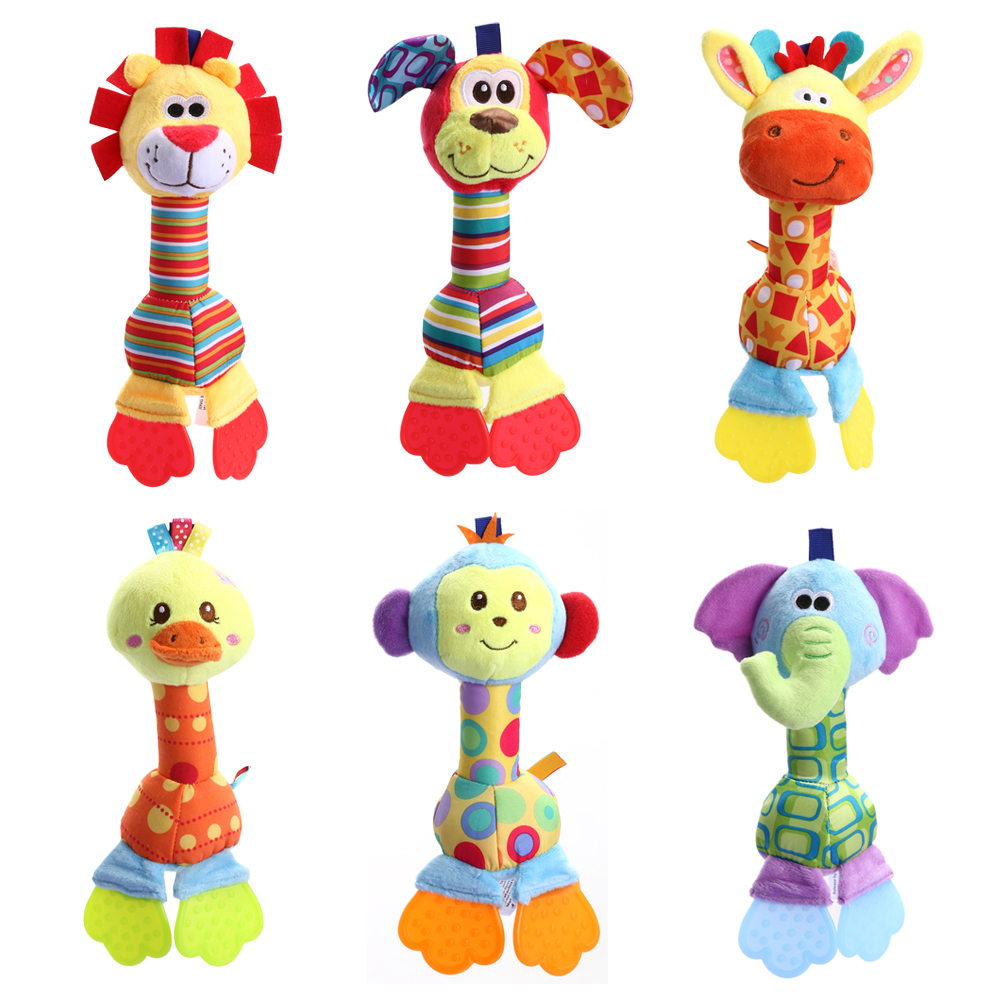 Infant Animal Handbell Baby Rattles Plush Stuffed Toy Children Mobiles Sounding Educational Stuffed Toy Playmate Teether Doll(China (Mainland))