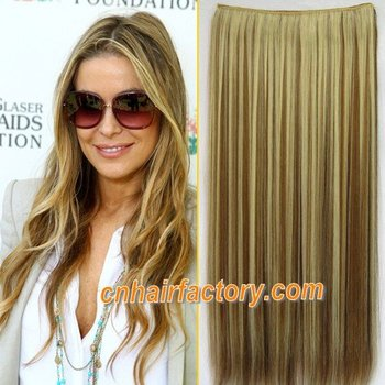 """Heat Resistant Hairpieces 1PCS 24"""" 100g Clip in Hair Synthetic Hair Extensions #10BH27H Highlight Brown & Blonde Hair Extension"""