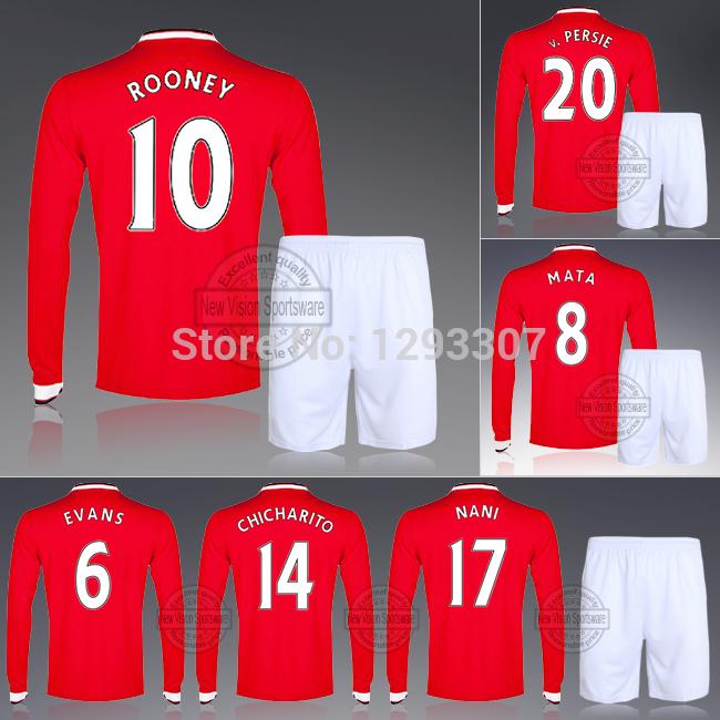 14 15 Full Long Sleeve United Rooney Van Persie Di Maria Home Soccer Kit Set Of Jersey & Short Men Outfit Football Shirt Uniform(China (Mainland))