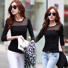 Freeshipping Blusa Feminina Women Slim Mesh Tops Blouse Long Sleeve Black Casual Shirts 22(China (Mainland))