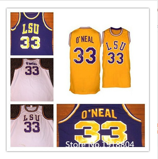 # 33 Shaquille O'Neal LSU Tigers college Basketball Jersey Custom any size, number and name stitched 100% high quality(China (Mainland))