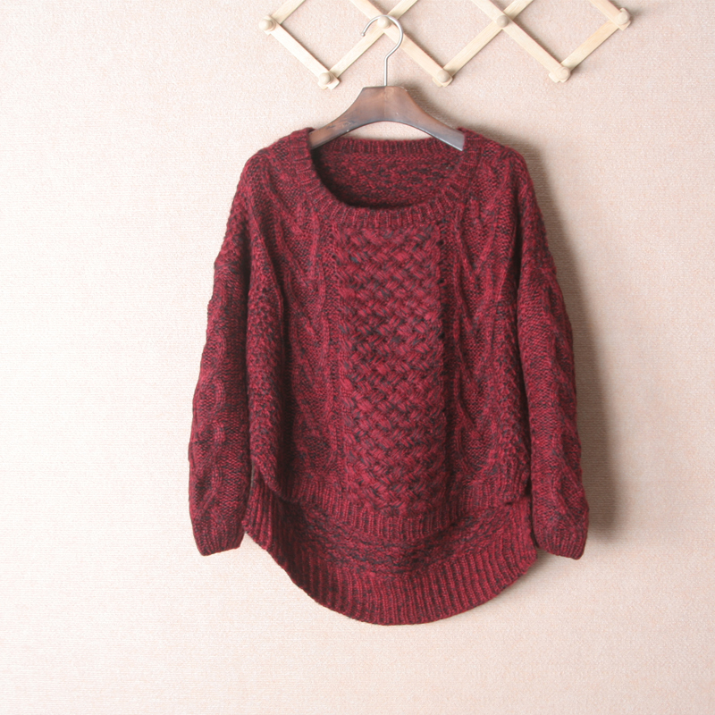 FreeShipping claret color mohair thermal sweater sweaters 2013 women fashion casual dress long sleeve women's sweaters(China (Mainland))