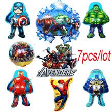 7pcs/lot The Avengers foil balloons super hero helium globos hulk Captain America superman ballon for boy's birthday supplies(China (Mainland))