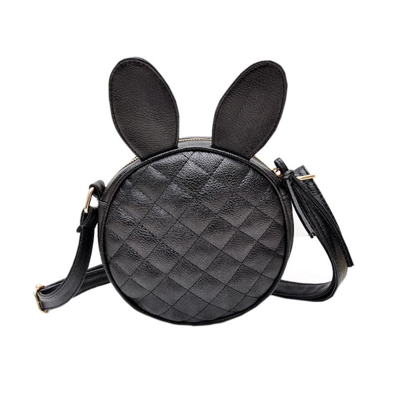 Brand Bag Women Hot Girls Rabbit Ear Round PU Leather Mini Shoulder Messenger Bags Black(China (Mainland))