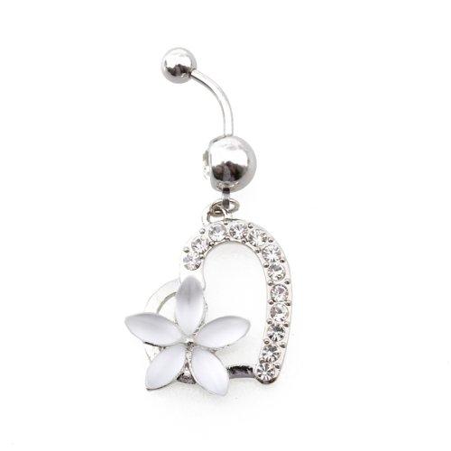Гаджет  High Quality Body Piercing Navel Belly Ring Barbell Bar Rhinestone Heart White Flower Alloy None Изготовление под заказ