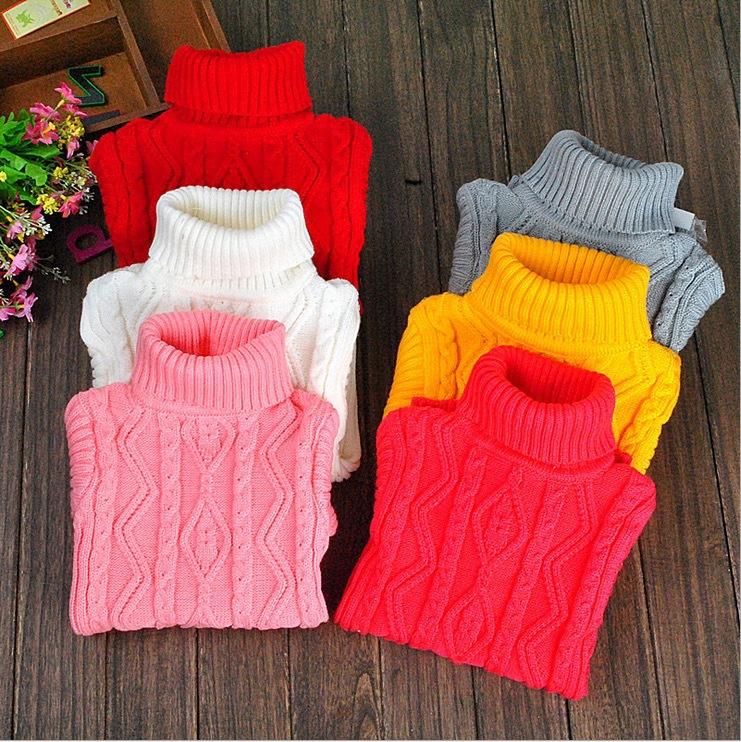 baby sweater boy pullover meninos turtleneck 2015 winter children girls white black pink red clothing teenage clothes size 12(China (Mainland))