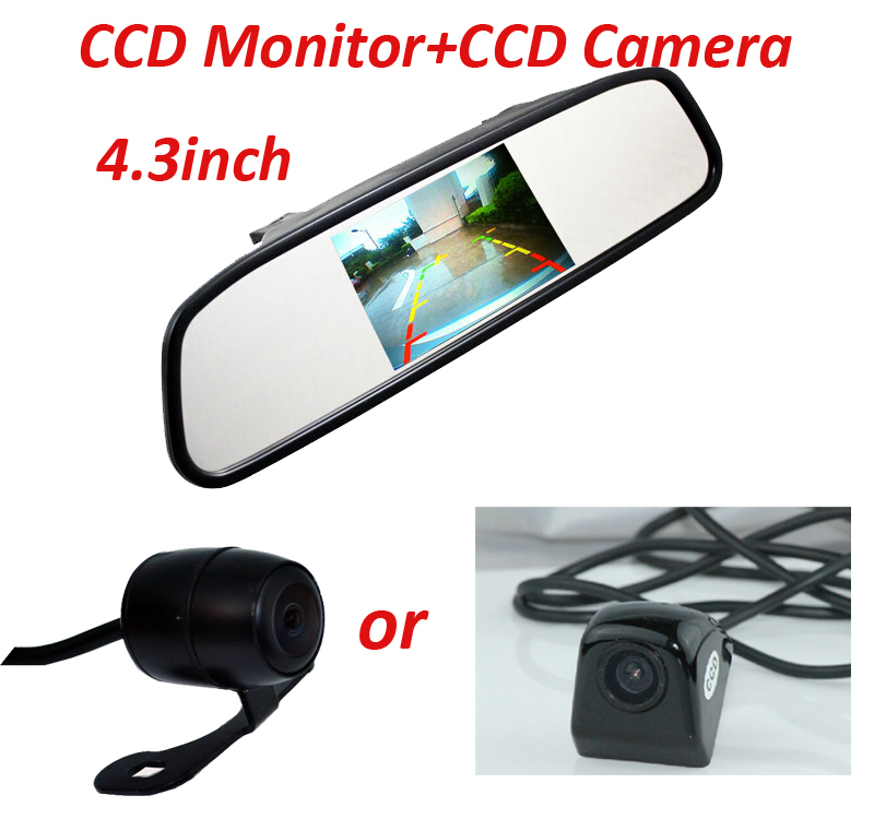 car Auto Parking Assistance System 2 in 1 4.3 car rear view Mirror Car Parking Monitor with 170 Degrees Car Rear view Camera(China (Mainland))