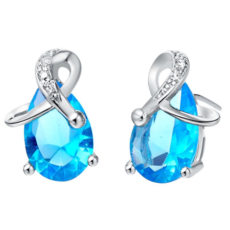 Women Water Drop Aquamarine Stud Earrings White Gold Plated Blue Purple Crystal Earings Zircon Stone Earring 2016 Fashion R172(China (Mainland))