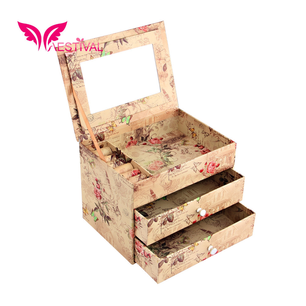 2015 New Arrival,Jewelry Brand Flower Butterfly Pattern Cardboard Jewelry Box with Fashion Paper Overlay Free Shipping(China (Mainland))