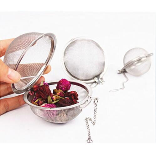 Promotion 2PCS Stainless Steel Tea Strainer Ball Mesh Locking Leaf Infuser ,Tea Spoon Filter With Chain(China (Mainland))