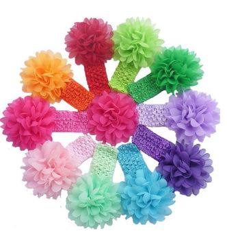 2015 Baby Girls Headband Toddlers Kids Infants Crochet weave Hairband & Big Chiffon flowers Headbands Children hair Accessories