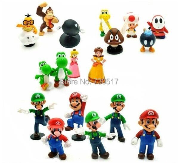 "18pcs/set 1.4""-2.5"" Super Mario Bros PVC Action Figures Yoshi Dinosaur Toys Set Kids Gift Home Decoration(China (Mainland))"