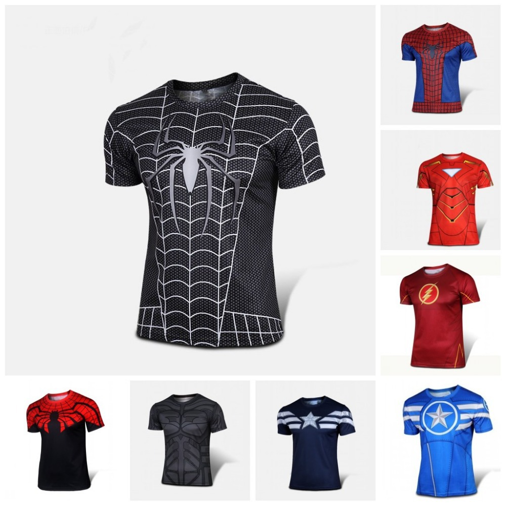 Free Shipping NEW 2015 Marvel Captain America 2 Super Hero lycra compression tights sport T shirt Men(China (Mainland))