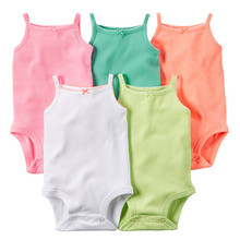 5 Pieces/Lot Baby Bodysuits Sling Sleeveless Short Sleeved Cotton Baby Jumpsuit Baby Clothes Dot Print  Baby Girls Bodysuits V49(China (Mainland))