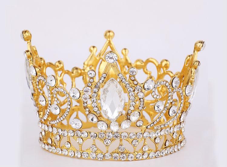 Крупных европейских королевская корона золотой горный хрусталь корона тиара супер-большой Quinceanera корона свадебные аксессуары для волос оптовая продажа