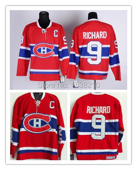Cheap Ice Hockey Jersey Montreal Canadiens #9 Maurice Richard CCM Jersey Canada Hockey Jersey Red Jersey C Patch(China (Mainland))
