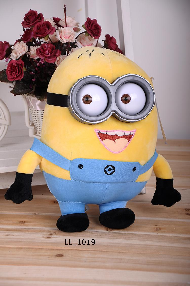 30CM minion toys despicable me Minions 3D eyes plastic yellow doll soybeans doll plush stuffed toys For Children Birthday Gift(China (Mainland))