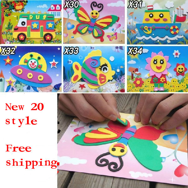10pcs 3D Puzzle EVA  Handmade Magical DIY Children Hand Art  Sticker Handicrafts Game Kids Baby Toys Gift  Kindergarten Teaching