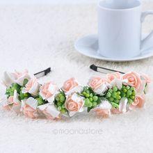 Womens Fashion Hair Wreaths Boho Women Wedding Party Flower Headband Hairband Headdress Pink White MHM049 70