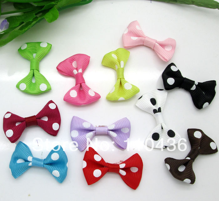 5Mixed Baby Satin Ribbon Dots Bowknot Hair Clips Applique DIY Craft Wedding Bow Tie Decoration 3.5x2.2cm - Panbeads-supplies Jewelry Co., Ltd. store
